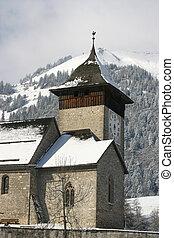 A Church in the Alps during International Hot Air Balloon Week