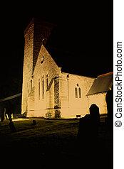 A Church lit up