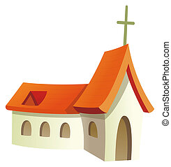 a church with red roof and cross isolate in a white background