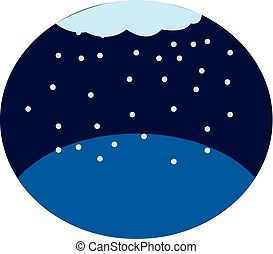 a, chute neige, vecteur, ou, couleur, illustration