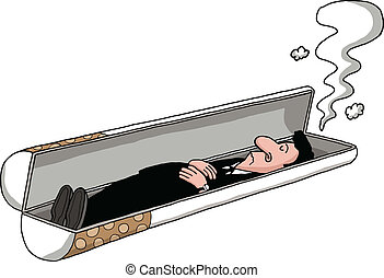 A man is lying in a cigarette shaped tomb