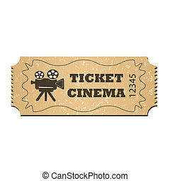 A cinema ticket, isolated on a white background. The element consists of a grunge texture. Vector illustration for your design.