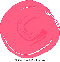 A circle of light pink paint with free space for text isolated on a white background.Texture or background