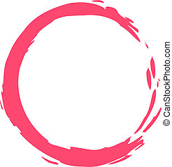 A circle of pink paint with free space for text isolated on a white background