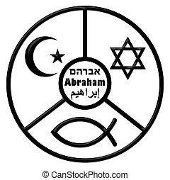 circle - A circle with Abraham and symbols of Judaism, Islam...