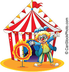 A circus tent at the back of the clown with a ring of fire