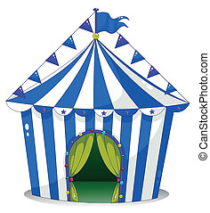 Illustration of a circus tent on a white background