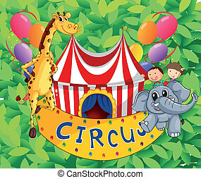 A circus tent with animals and kids