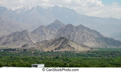 A city near three different mountain heights - A steady, ...
