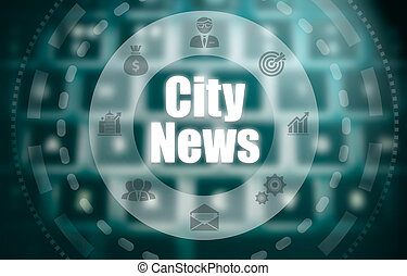 A city news concept on a futuristic computer display over a blured image of a keyboard.