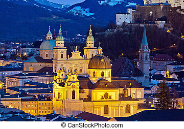 a city view of the city of salzburg in austria .. city and fortress hohensalzburg