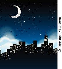 a, cityscape, soir