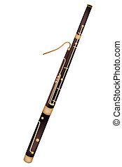 Music Instrument, An Illustration Brown Color of Vintage Classical Bassoon Isolated on White Background