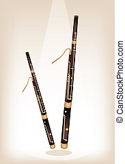 Music Instrument, An Illustration Brown Color of Vintage Classical Bassoon on Brown Stage Background with Copy Space for Text Decorated