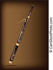 Music Instrument, An Illustration Brown Color of Vintage Classical Bassoon on Beautiful Dark Brown Background with Copy Space for Text Decorated