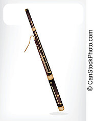 Music Instrument, An Illustration Brown Color of Vintage Classical Bassoon with White Label for Copy Space and Text Decorated