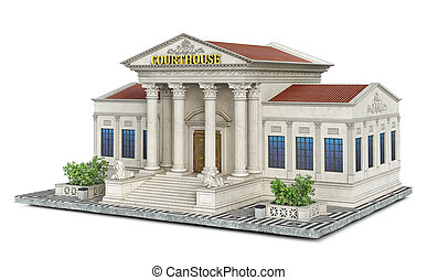 A classical building of courthouse on a piece of ground, 3d illustration