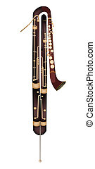 Music Instrument, An Illustration Brown Color of Vintage Classical Contrabassoon Isolated on White Background