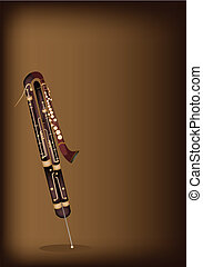 Music Instrument, An Illustration Brown Color of Vintage Classical Contrabassoon on Beautiful Dark Brown Background with Copy Space for Text Decorated