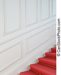 A classical staircase with a red carpet.