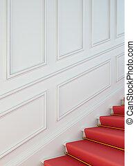 a, classique, escalier, à, a, rouges, carpet.