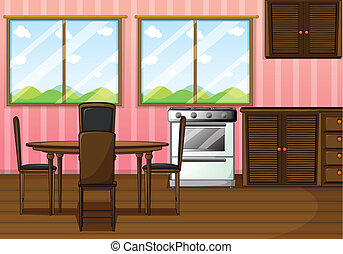 A clean dining room - Illustration of a clean dining room