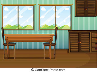 A clean dining room with wooden furnitures - Illustration of...