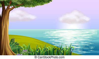 A clear blue sea - Illustration of a clear blue sea