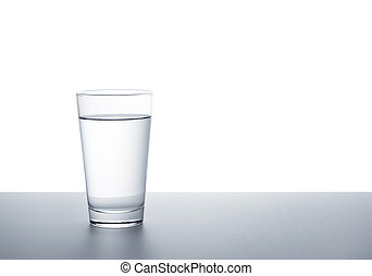A clear glass of water on a white background