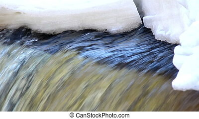 A clear water is flowing under the snow covered aread