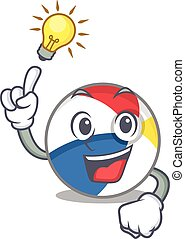 a clever beach ball cartoon character style have an idea gesture