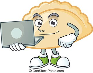 A clever pierogi mascot character working with laptop. Vector illustration