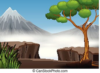 A cliff in the forest with mountain view nature landscape