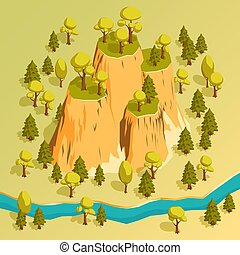 A cliff with ledges in a forest surrounded by trees. Isometric