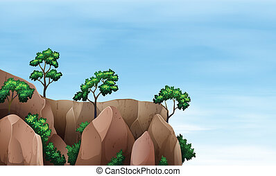 A cliff with trees