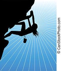 A climbing woman