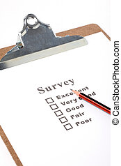 questionnaire - a Clipboard and questionnaire with white...