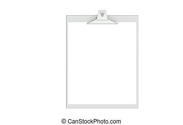 A Clipboard of Steel and a blank piece of Paper