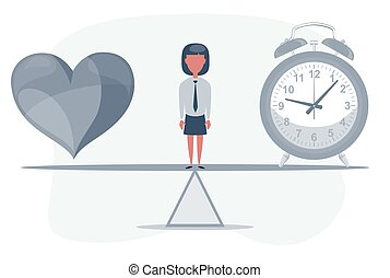 A clock and a heart together. Time and love concept. Woman standing on seesaw.