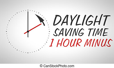 A clock at the wall with text daylight saving time 1 hour minus