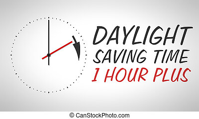 A clock at the wall with text daylight saving time 1 hour plus