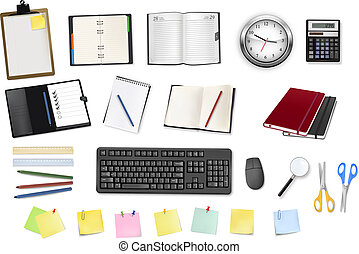 some office supplies. Vector. - A clock, calculator,...