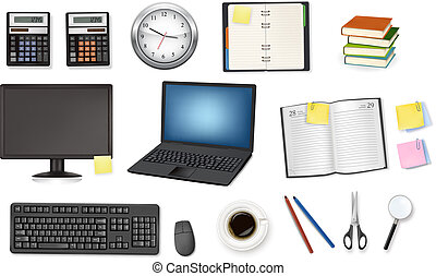 A clock, calculator, notebooks and some office supplies. ...