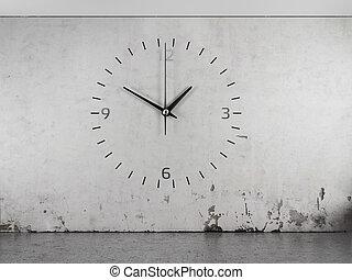 A clock on a concrete wall