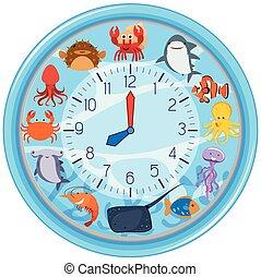 A clock with sea creature template illustration