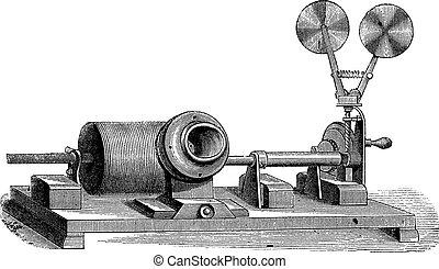 A clockwork gramophone - c, cylinder, m, mouth, vintage engraved illustration. Old gramophone. Trousset encyclopedia (1886 - 1891).