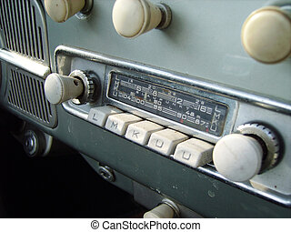 old car radio - a close detail of an old car radio