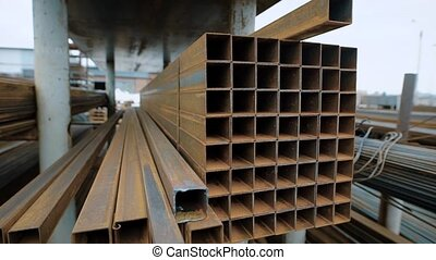 a close shot at the metal beams that are used to reinforce...