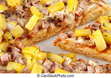close up image of hawaiian pizza