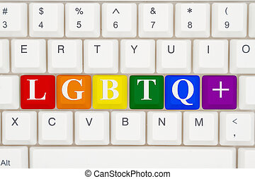 A close-up of a keyboard with highlighted in pride colors text LGBTQ+